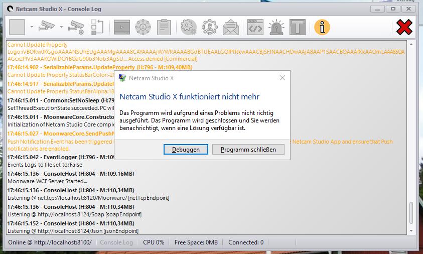 Bug Report] Netcam Studio X Server 64 crashing on start - Problems