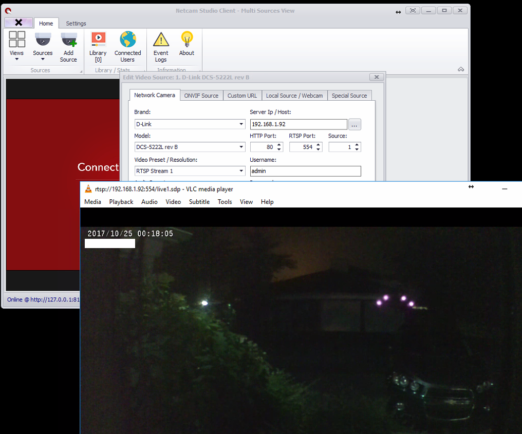 Netcam software issues and RTSP connection issues with Wansview 720p