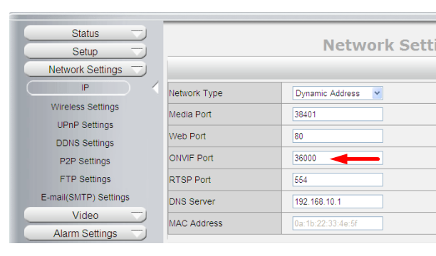 Camera Pipcam 8 not in the drop down list - use ONVIF - Network