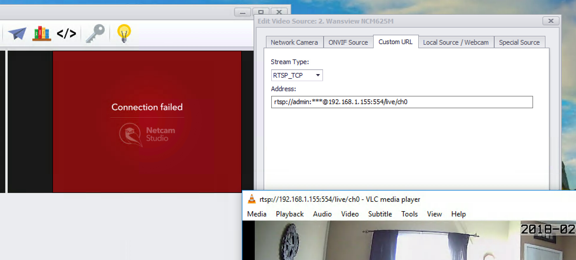 Error connecting to camera RTSP_TCP // working using VLC and